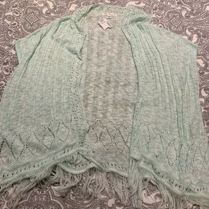 Say What? Mint Crochet Coverup with Fringe Size XL